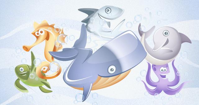 Colección de animales marinos en vector